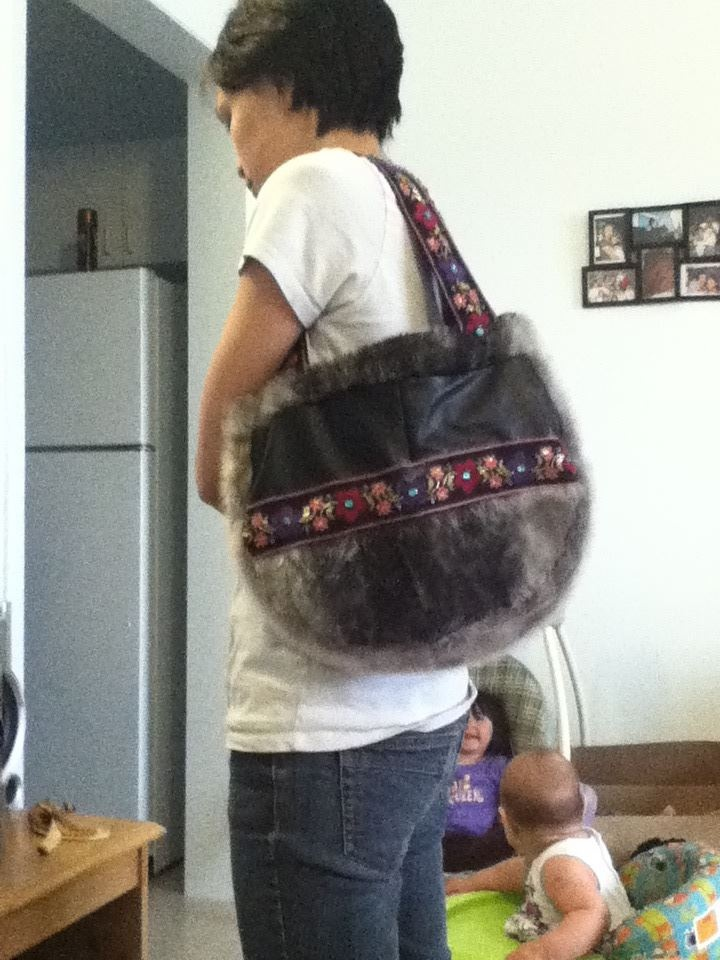 Inuit made sealskin purse by Selma Brown