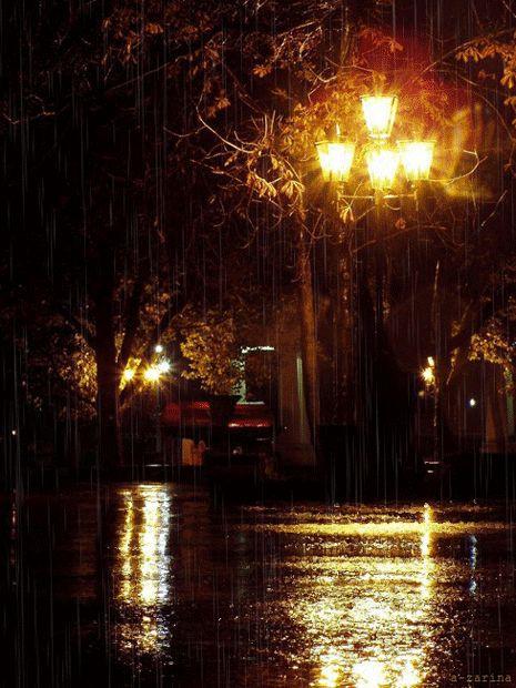 Картинки анимации дождь в городе