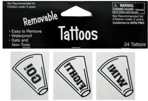 removable white cheer tattoos Case of 24