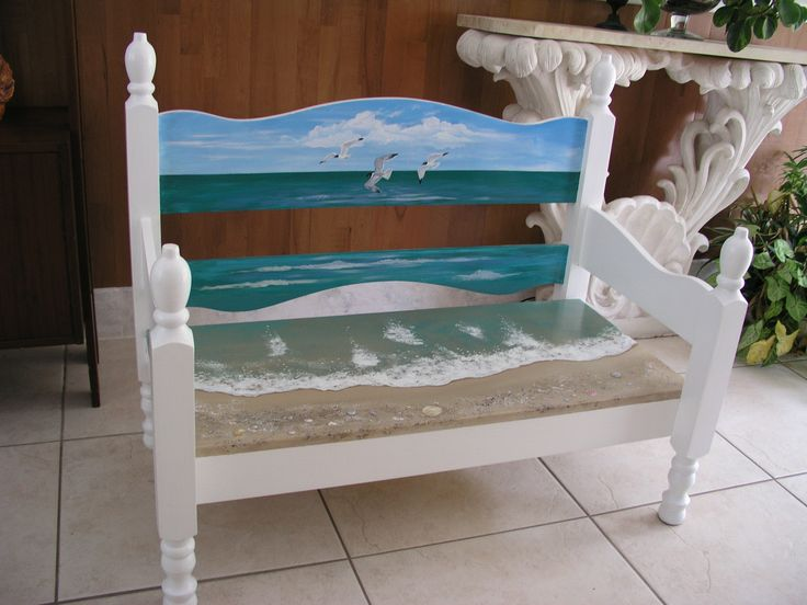painted beACH furniture Jacksonville beach | Finished Beach Bench! | jeanscoastalart.com