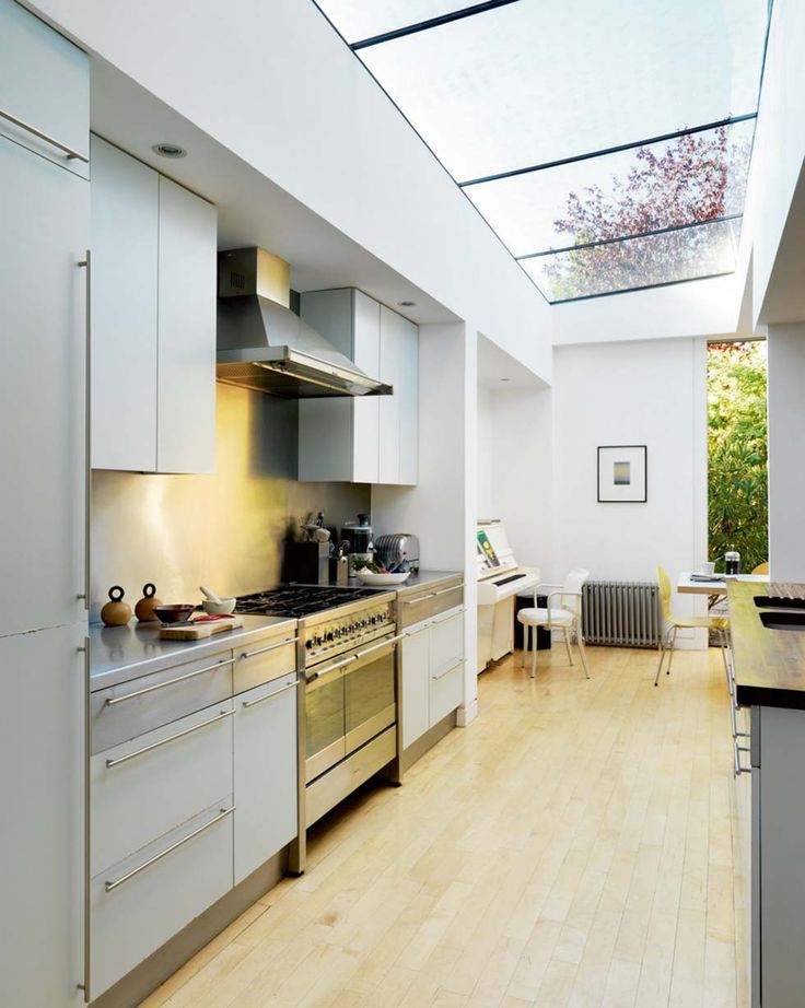 A kitchen with a glazed ceiling