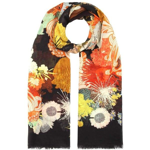 Printed cotton scarf Dries Van Noten ($340) ❤ liked on Polyvore featuring accessories, scarves, cotton scarves, wrap shawl, lightweight scarves, dries van noten and cotton shawl