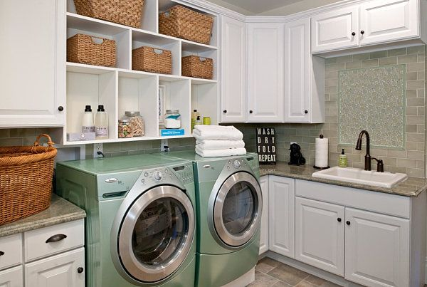 Built in laundry room shelving Eye Catching Laundry Room Shelving Ideas