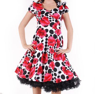 Wit/rode rozen-vintage, retro, rockabilly swing jurk