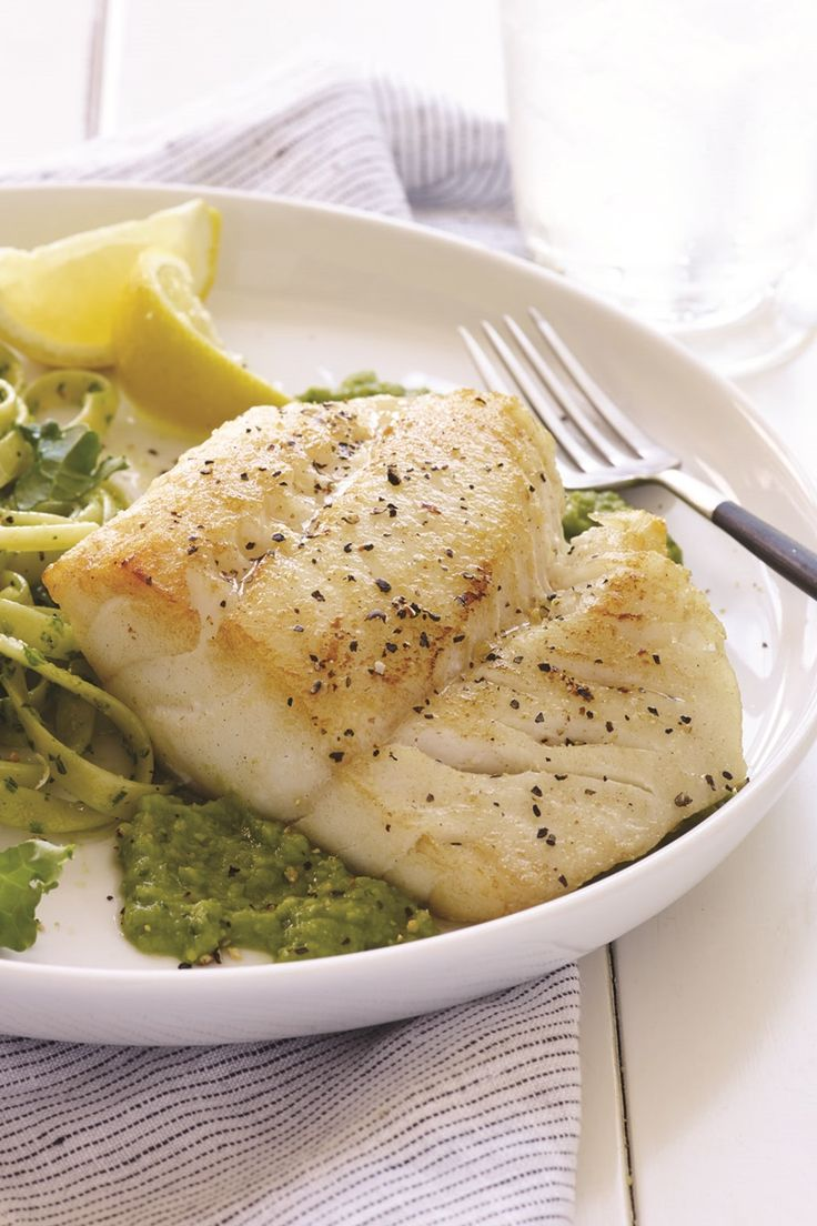 Pan-Seared Lemon Pepper Cod over Fresh Pea Puree - a naturally dairy-free, gluten-free recipe created by professional athletes Sarah and Ryan Hall