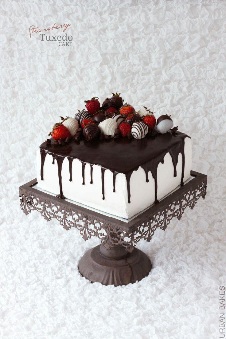 Fragola Tuxedo torta con panna montata Bianco glassa di cioccolato | urbanbakes.com