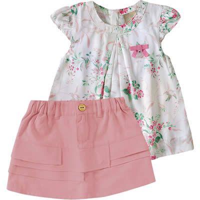 Conjunto Infantil com Blusa de Cetim para Menina Rosa - Milon :: 764 Kids   Roupa bebê e infantil
