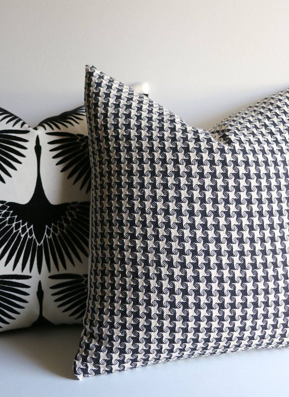 Woven Houndstooth Pillow Black And Ivory Houndstooth Decorative Pillow Cover Lumbar Pillow Case Houndstooth Pillows Pillows Decorative Pillow Covers