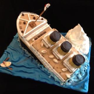 Sinking Titanic theme birthday cake by me- pamycakes!