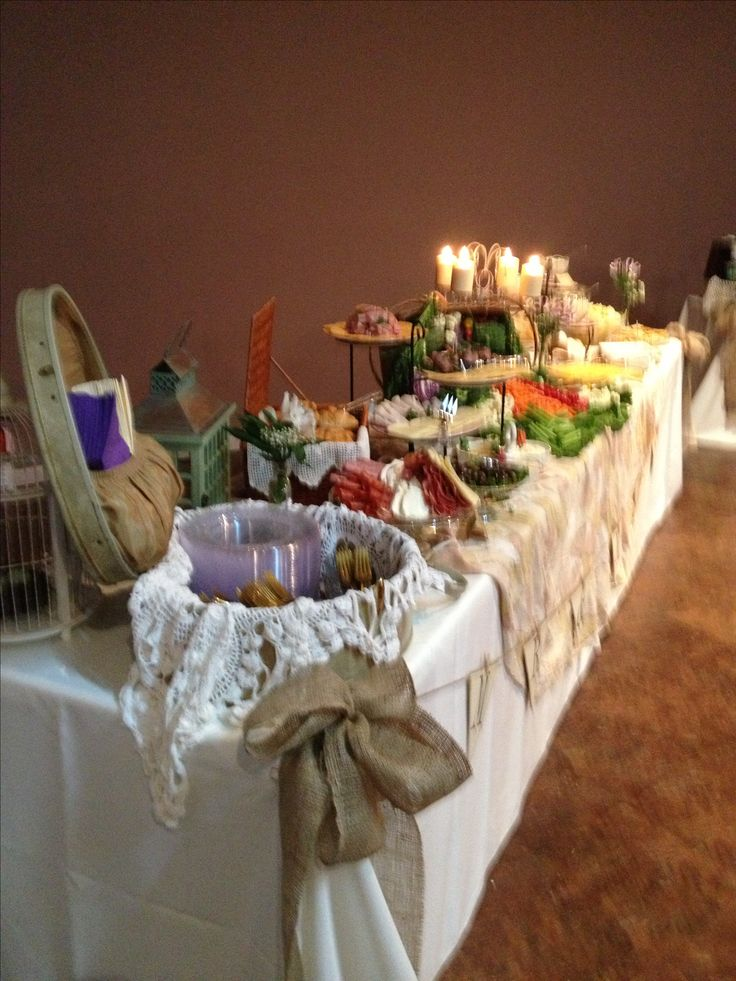 Vintage wedding shower food table decor