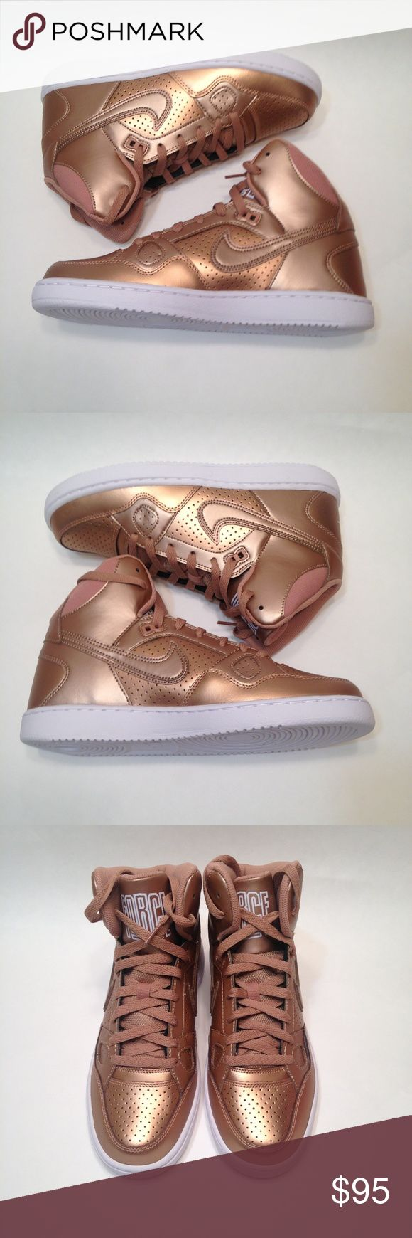 New womens Nike Son of force rose gold size 9 Brand new without the box womens Nike mid top Son of Force Rose gold with white sole size 9. Nike Shoes Sneakers