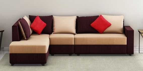 Arlo RHS sectional Sofa with Pouffe in Beige Colour By
