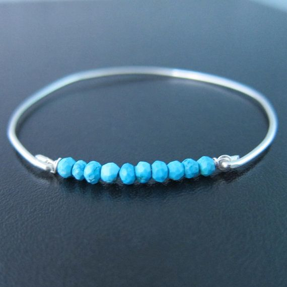 Turquoise Bead Bracelet Sterling Silver Turquoise by FrostedWillow
