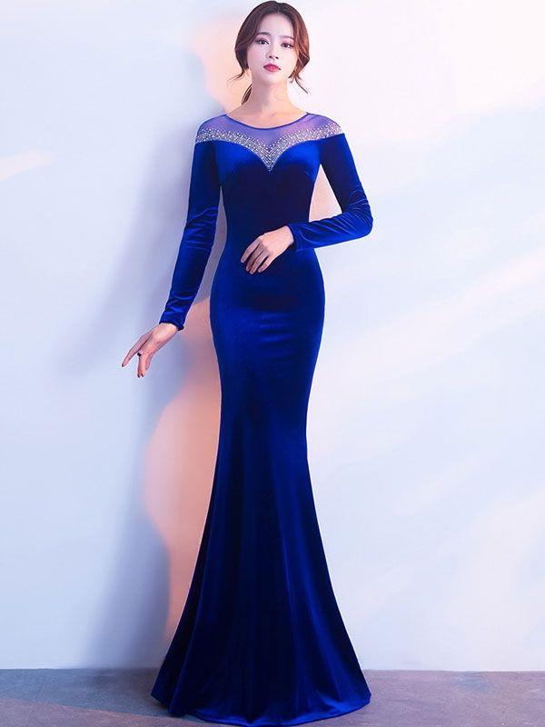 Velvet Sequined Contrast O-Neck Long Sleeves Sheath Evening Dresses  Dress   WomenDresses  Jollyhers ee2019918