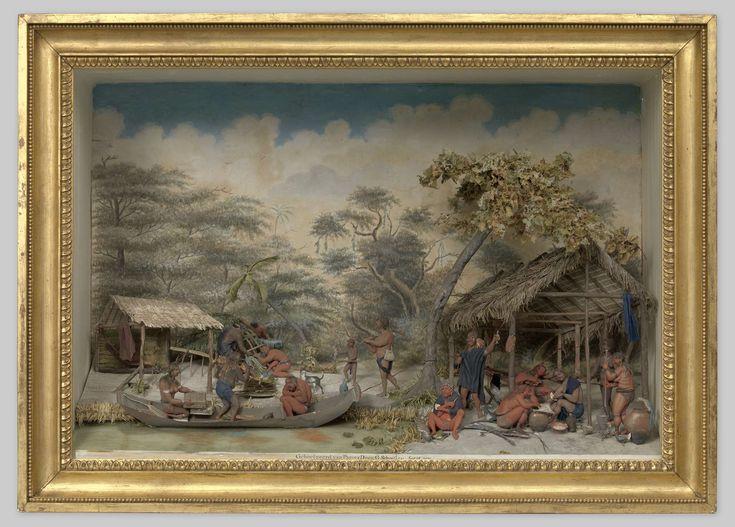 Gerrit Schouten | Diorama of a Carib camp, Gerrit Schouten, 1810 | Diorama van een Caraïbenkamp met de bouw van een hut. De nederzetting is gelegen aan een rivier en bestaat uit twee hutten en een hut in aanbouw. De ondiepe houten kast heeft een oplopende bodem, rechthoekige zijden en een vlakke zoldering. De achterzijde van de kast is aan de binnenkant beschilderd met geboomte, witte wolken en een blauwe lucht. De zijden en bovenkant zijn wit geschilderd. Van links naar rechts een kleine…