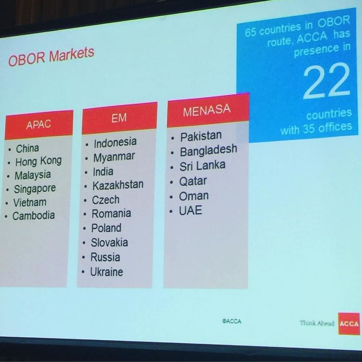 The OBOR Market | APAC | EM | MENASA | @acca.official has presence in 22 countries with 35 offices. It is truly a global accounting qualification beyond any other on offer. Chose it cause it was global and the hardest. #accounting #Xero  #xerocon  #cloud  #cloudtechnology  #CloudBusiness  #automation #Accounting  #Bookkeeping  #startuplife  #entrepreneurs  #focused  #simplify  #taskmanagement  #organized #todolist  #workfromhome  #makeithappen  #empower #productivity  #seizetheday