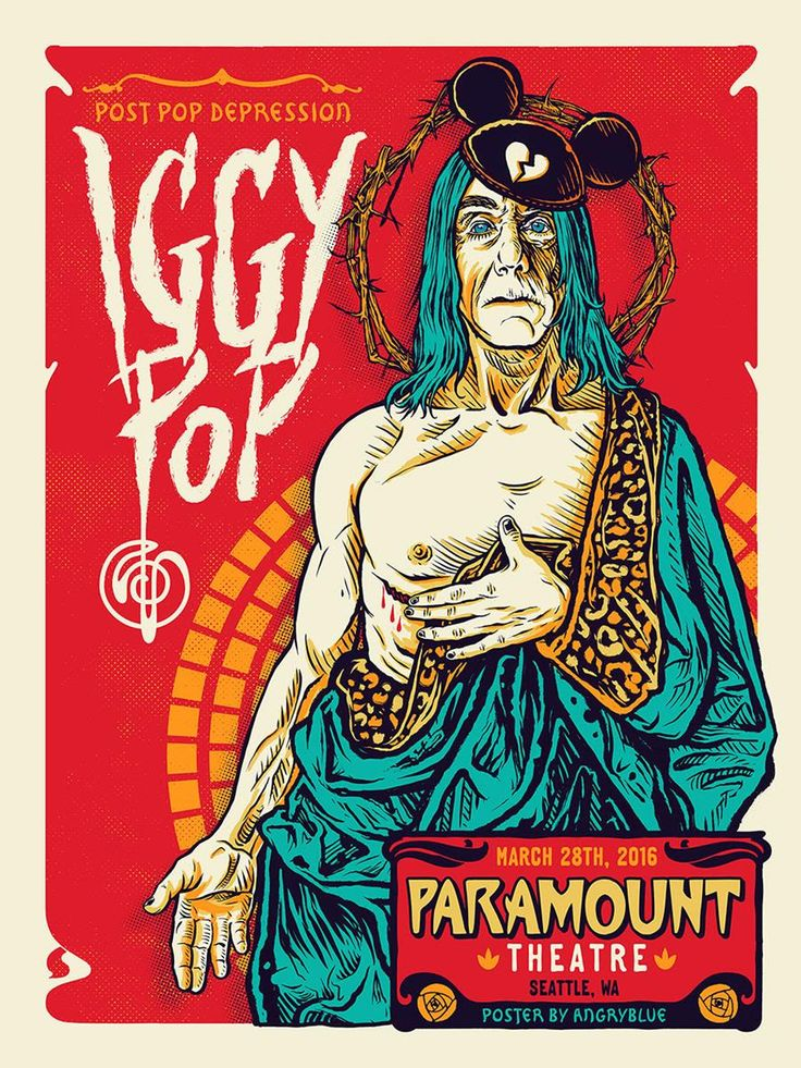 Iggy Pop AngryBlue Seattle Poster