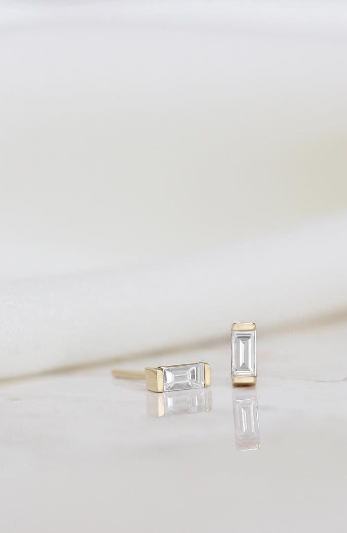 When the natural light catches the delicate, yet structured diamonds of the Baguette Earrings just right   Vrai & Oro
