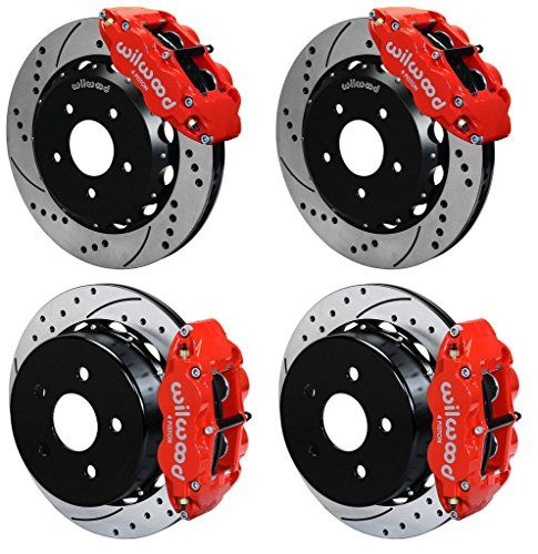 """WILWOOD FRONT & REAR DISC BRAKE KIT, 13"""" DRILLED ROTORS, RED SUPERLITE 4 PISTON CALIPERS, PADS, 07-15 JEEP WRANGLER JK, RUBICON SAHARA SPORT UNLIMITED 2007 2008 2009 2010 2011 2012 2013 2014 2015"""
