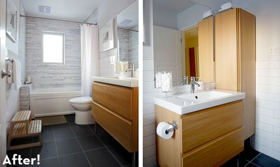 small bath redo ideas - add glass door or 2 custom curtains with cornice - no visible shower curtain bar