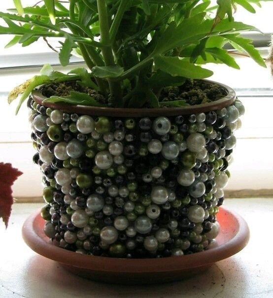 украшаем горшки для цветов