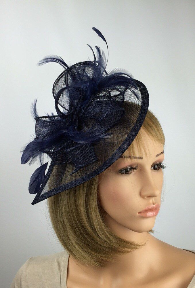 Elegant Headband and Clip Navy Fascinator Wedding Races Royal Ascot Occasion