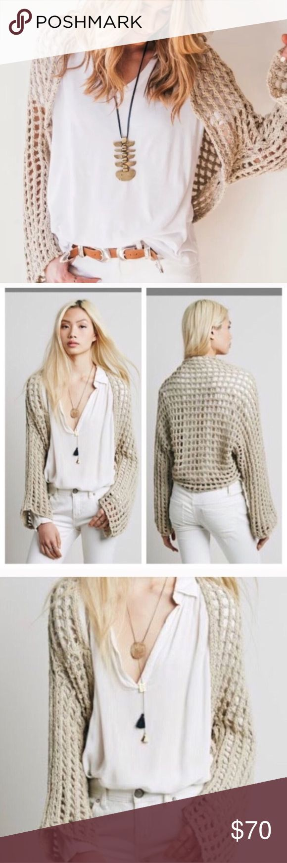 Free People Trinity Grey Shrug Sweater Small Free People Trinity Grey Shrug Sweater Crochet Bolero Shrug Size Small, brand new with tags- retail $98🌟 Free People Sweaters