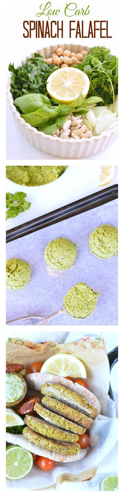 Easy Spinach Falafel ready in 10 min in a food processor. Vegan & low carb (9 g net carb per falafel) 5 g protein and only wholesome ingredients. Perfect to include in your clean eating plan as a meal or appetizer. Easy to make ahead and freeze too !