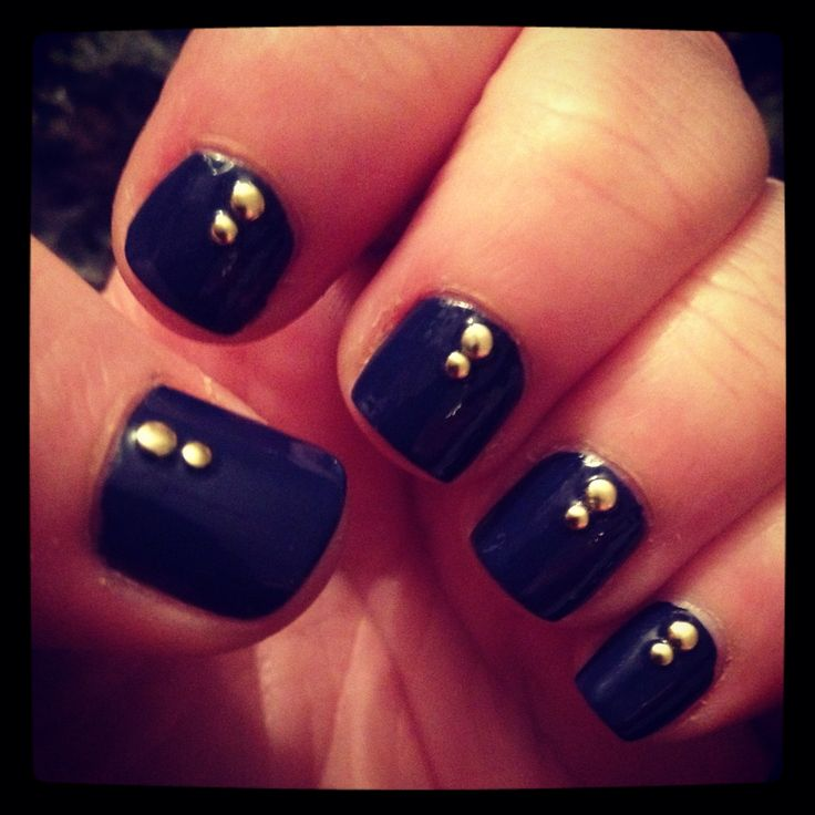 Blue with gold studs
