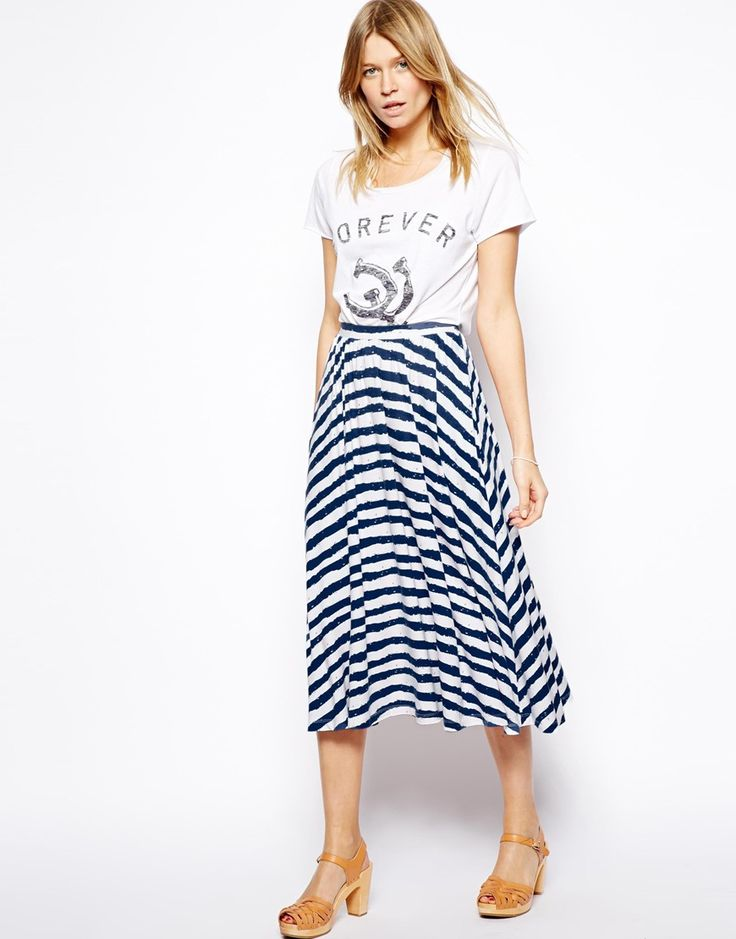 Toss a jean jacket on with this nautical midi and you'll be set to go.