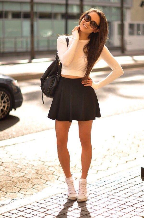 White High Top Sneaker, Black Skater Skirt, White Long Sleeve Crop Top, Black Handbag, Sunglasses
