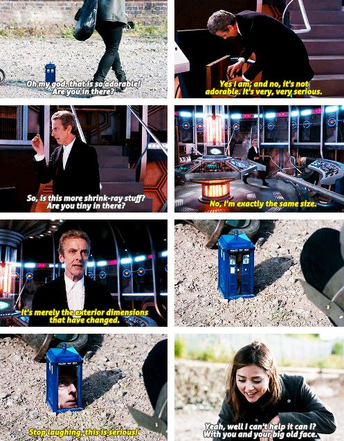 "8x09 Flatline - ""no, it's not adorable, it's very, very serious."" - Clara and 12th Doctor"