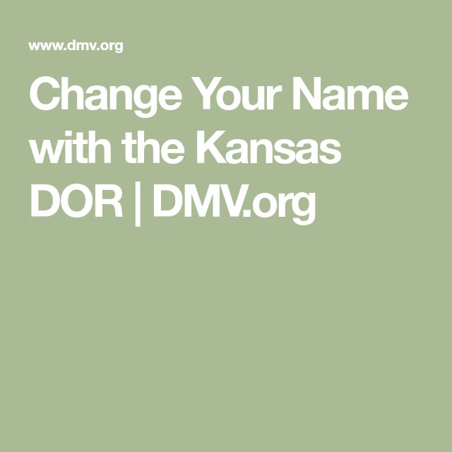 Change Your Name with the Kansas DOR | DMV.org