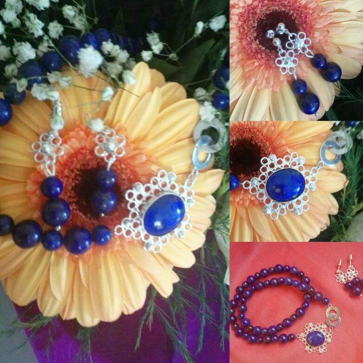 Set,ogrlica i naušnice. Lapis lazuli u srebrni filigran,ručni rad Fine silver filigree&Lapis lazuli,handmade