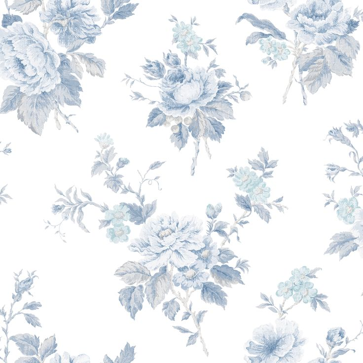 Beautiful blue floral wallpaper