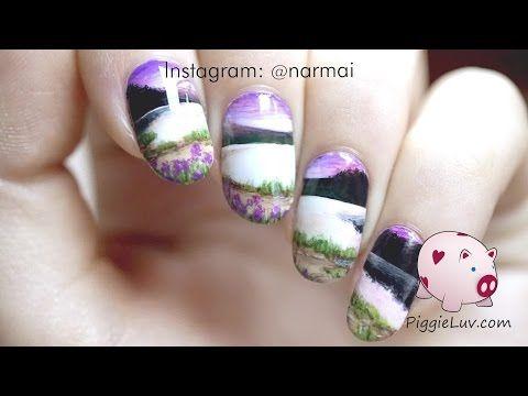 PiggieLuv: Wide open landscape nail art, miniature painting
