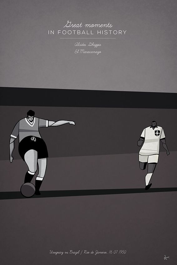 great moments in football illustration series history Alcides Ghiggia