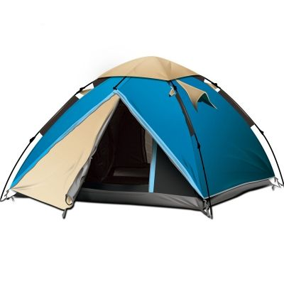Instant Self Quick Pitch Dome Tent 3-Person 3-Season for Hiking, Camping and Traveling- Blue