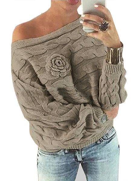 Khaki Off Shoulder Bat-wing Sleeves Random Point Floral Sweater