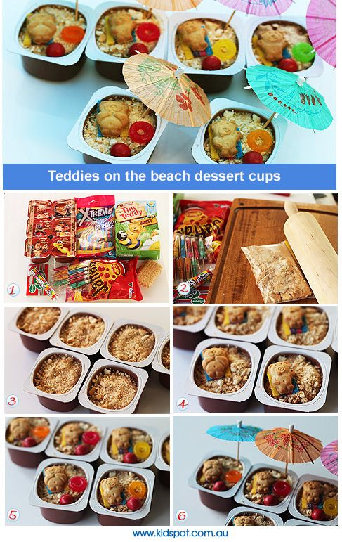 pinning this at request!  Tiny Teddy Beach Dessert Cups Recipe - fun for a kids party, or special treat!
