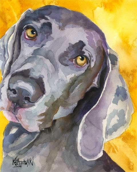 Weimaraner dog print $24.50    His work is awesome.  He will do custom potraits!