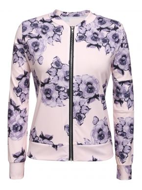 Nueva chaqueta de béisbol impresión Floral de manga larga Casual moda abrigos y chaquetas de abrigo
