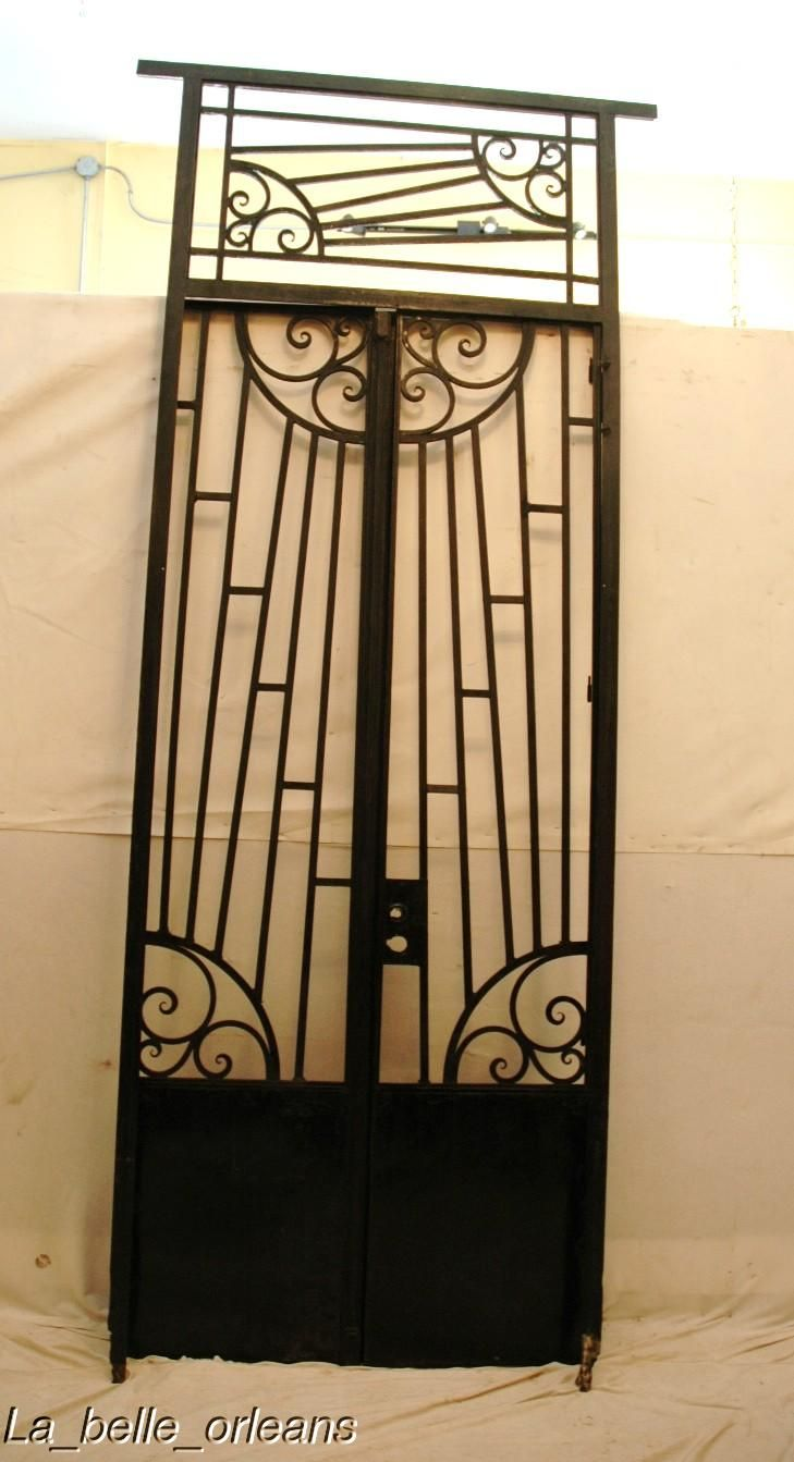 ART-DECO FRENCH WROUGHT IRON GATE WITH FRAME/TRANSOM For