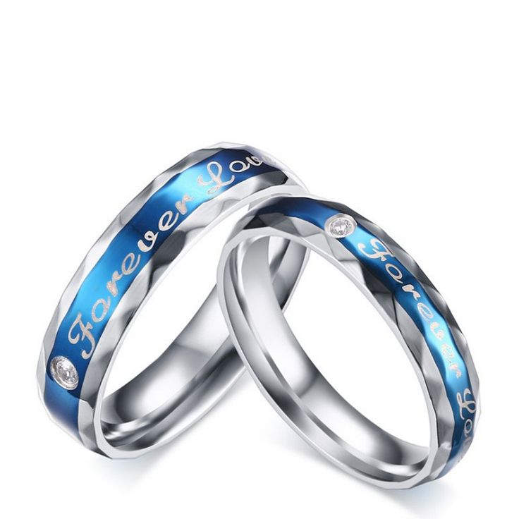 Titanium Blue Ring For Couples Forever Love Engraved Cutting Surface Simple and Fashion – Courtney Kirschman