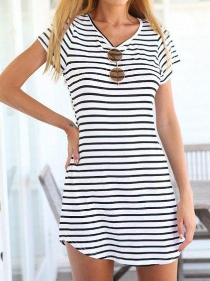 Short Sleeve Striped Summer Dress
