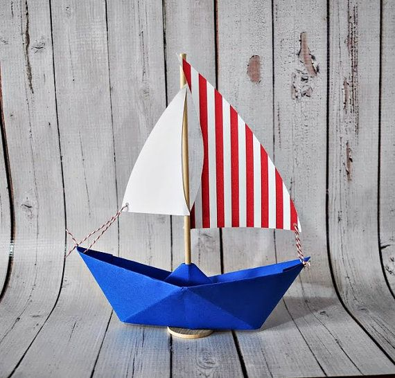 Paper Sailboat Red stripe sail with bright blue boat by Msapple, $3.00