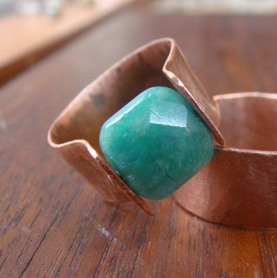 Copper Rivet Ring  Russian Amazonite Square Stone by janeeroberti, $72.00