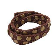 Label 88 leren wikkelarmband met studs chocolat brown