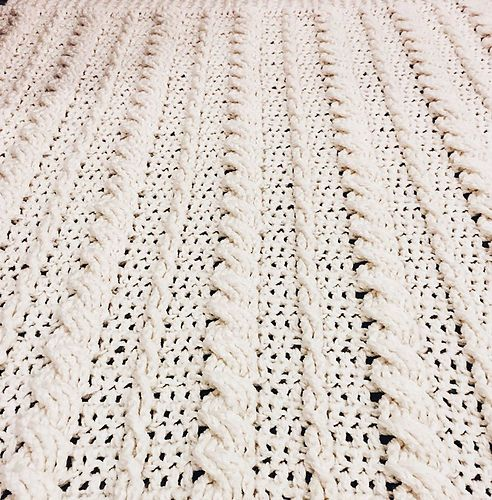 Cabled Wedding Blanket FREE pattern by Kozy Threads