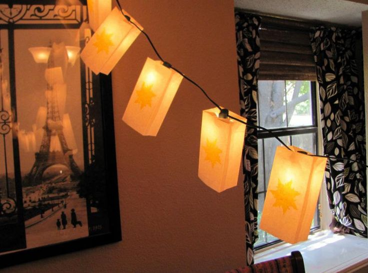 Easy and cheap lantern decoration idea for a Tangled Rapunzel birthday party.